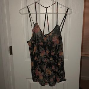 Sheer black Lush tank with floral pattern. Size XS